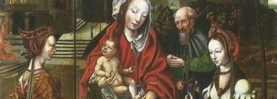 Tríptico de la Sagrada Familia con dos Santos