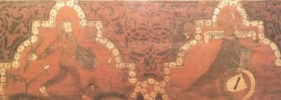 Pintura con salvaje y perro tenante de escudo